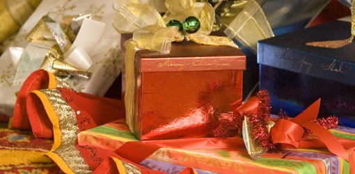 Wrapped gift packages.