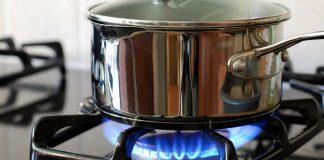 Closeup of a gas burner on a stove