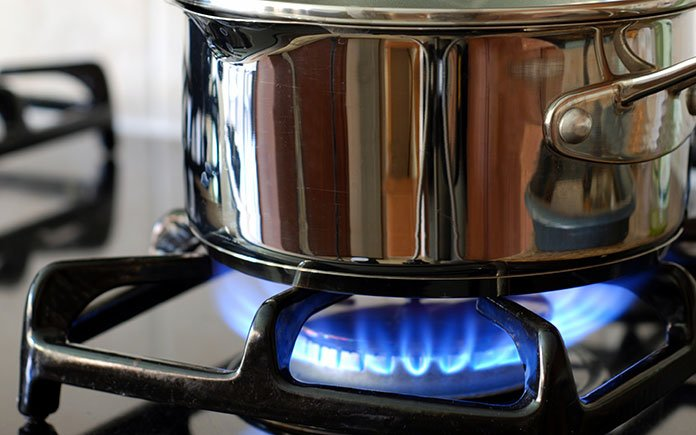 Closeup of gas burner in the kitchen