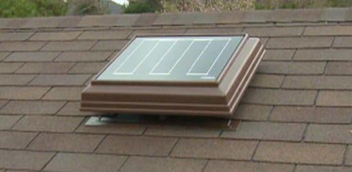 Solar powered attic vent fan.