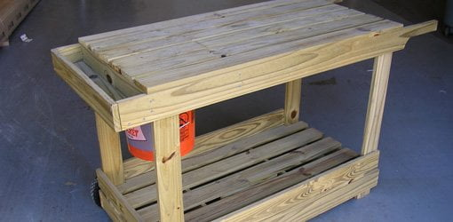 Completed portable potting bench and garden cart.