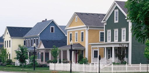 Houses with fiber cement siding.
