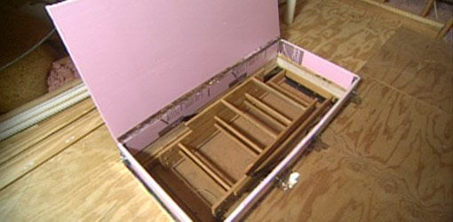 DIY insulating foam box for attic staircase