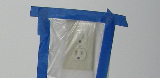 Electrical outlets covered with plastic