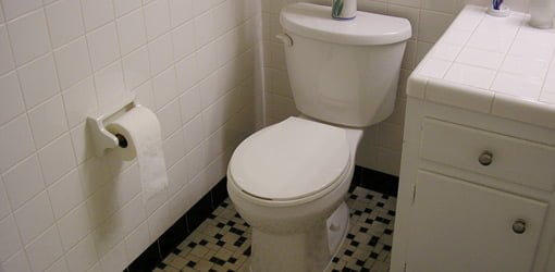 Newly installed toilet in bathroom.