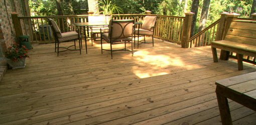 Wood deck after cleaning and finishing