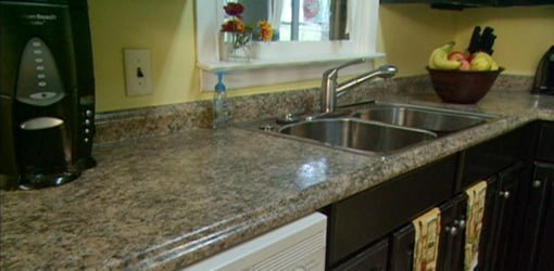 Kitchen with plastic laminate countertops.