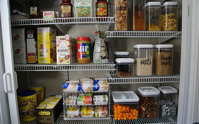 Track storage system in pantry