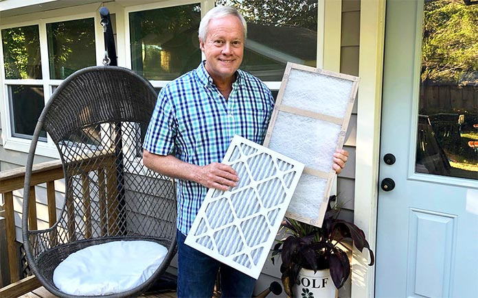Danny Lipford shows the selection of air conditioner filters available for purchase