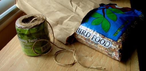 Bird seed, string, bag.