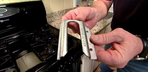 Anti-tip bracket for kitchen stove.