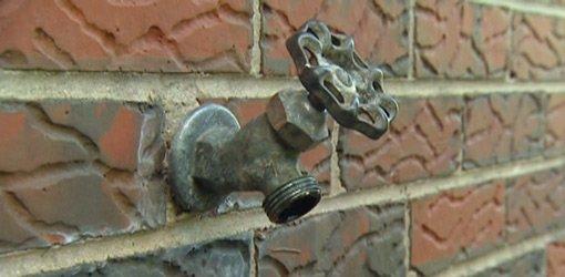 Outdoor hose bib spigot.