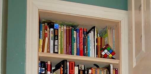 Bookcase built into wall.
