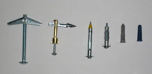 Toggle bolts, molly bolts, and wall anchors.