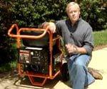 Danny next to a generator