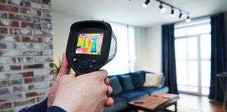 Man uses thermal imaging device to detect air leaks in his home