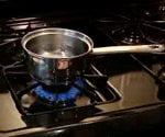 pot boiling water on gass stove top