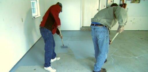 Rolling epoxy coating on garage floor