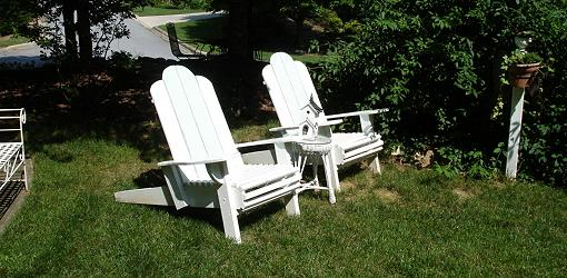 Lawn chairs in a yard