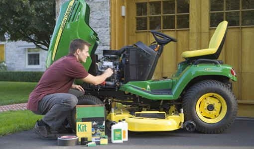 Perform lawn mower maintenance before storing for winter.