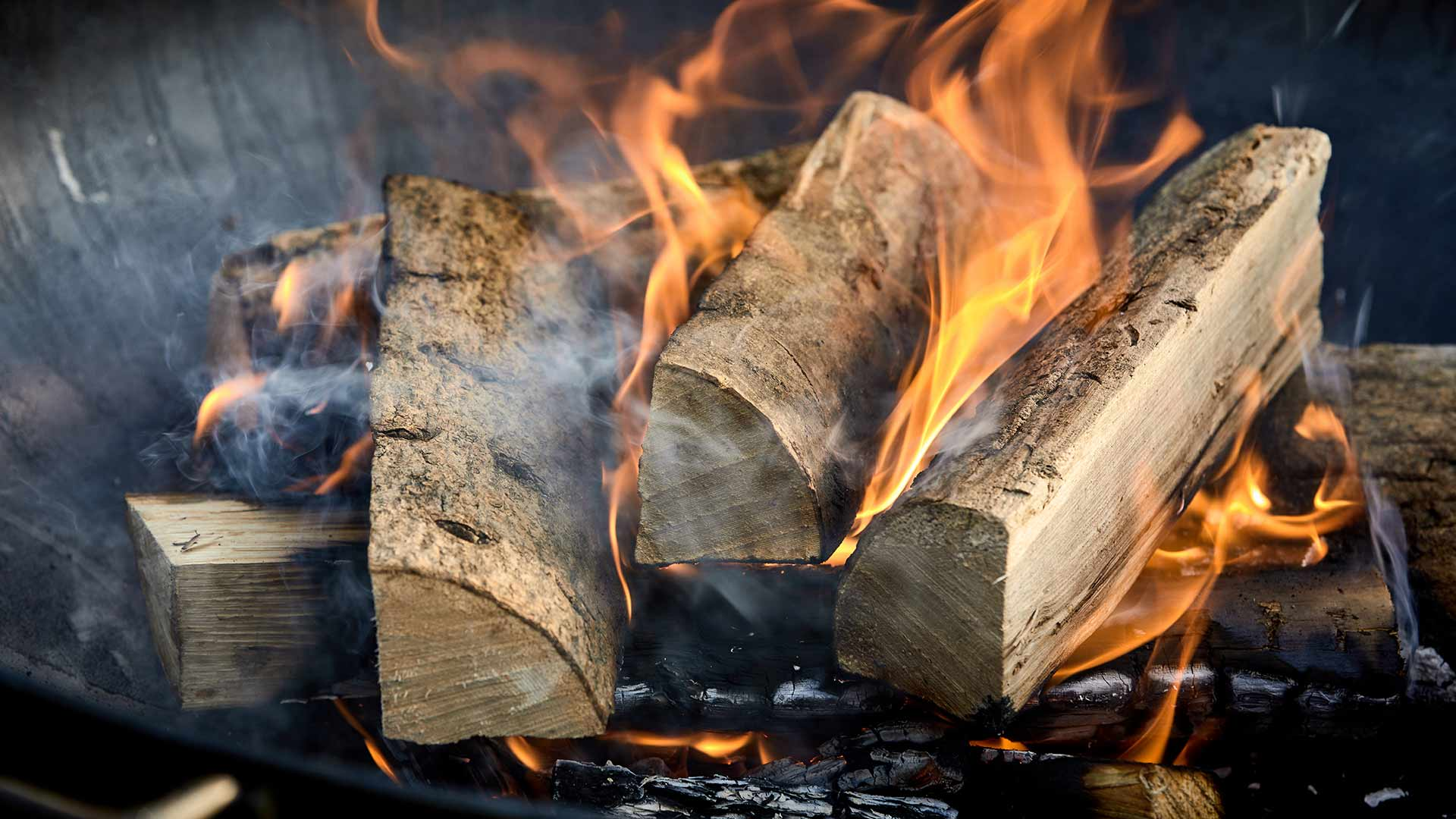 Logs burning in a fireplace