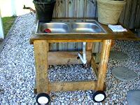 Stainless steel sink on homemade wooden base