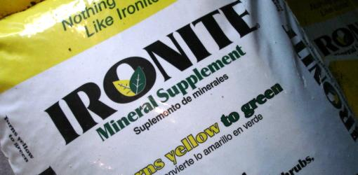 Bag of ironite fertilizer