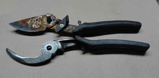 Two parts of a rusty pair of pruners: one before electrolysis, one after