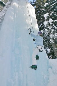 Ice climbing straight up