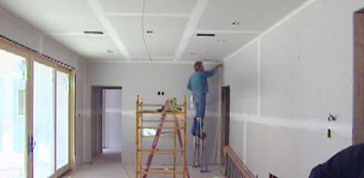 Drywall finisher finishing drywall