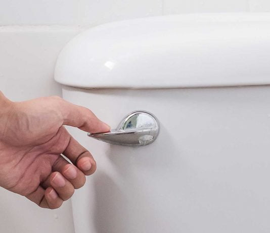 Closeup of woman's hand as she flushes a toilet that has a stuck handle