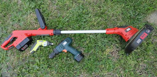 Rechargeable cordless drills and string trimmer