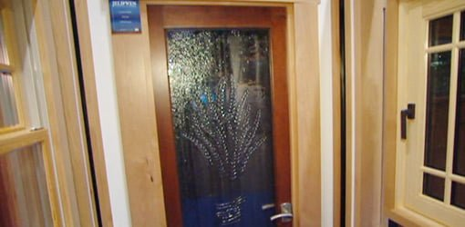 Door with obscure glass decorative panel