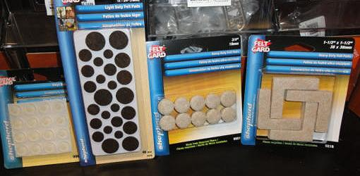 packages of self-adhesive felt and rubber pads