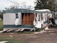 Mobile home destroyed by storm