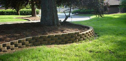 Blocks in a Curved Retaining Wall