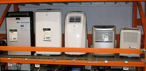 Portable AC units on display in The Home Depot