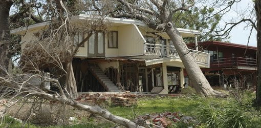 Hurricane tree damage to house