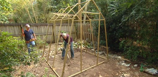 Building the frame for the greenhouse.
