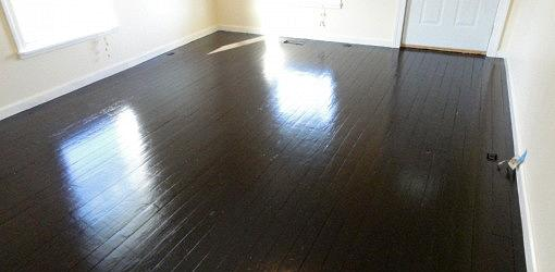 Wood floor painted a darker color
