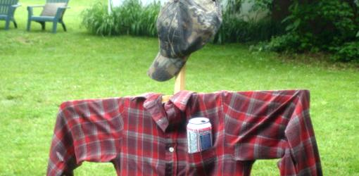 Scarecrow with shirt and hat