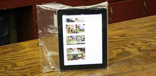 iPad in sealed plastic bag.