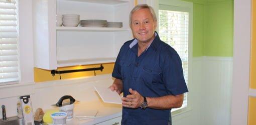 Danny Lipford tiling a kitchen backsplash