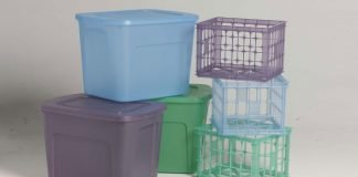 Plastic storage containers, empty, before a homeowner fills them