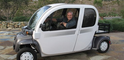 Danny Lipford in eco-friendly green electric car