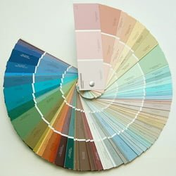 Fan deck of paint colors.