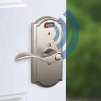 Schlage entry lock with built-in alarm.