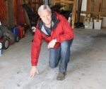Danny Lipford with concrete garage floor before painting.