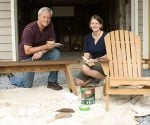 Danny Lipford and Julie Day-Jones staining outdoor wood furniture.