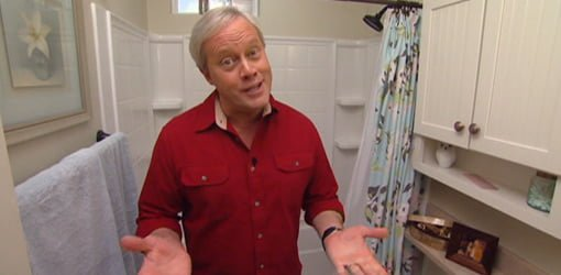 Danny Lipford in remodeled First Time Homeowner bathroom.
